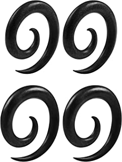 BIG GAUGES 2 Pairs Areng Wood Spiral Coil Taper Expander Piercing Jewelry Ear Stretching Earring Two Size Lobe Plugs
