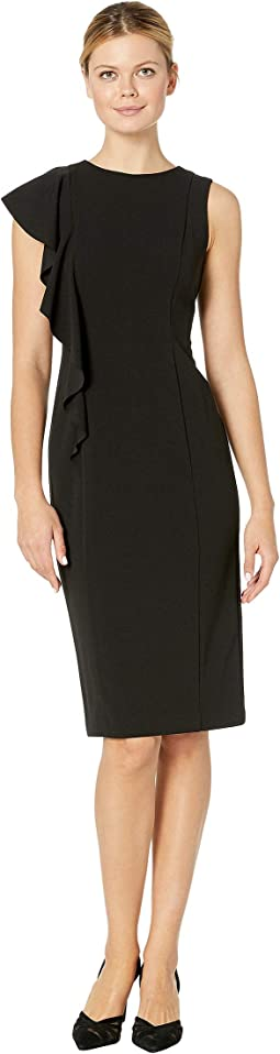 Scuba Crepe Sheath Dress w/ Cascade