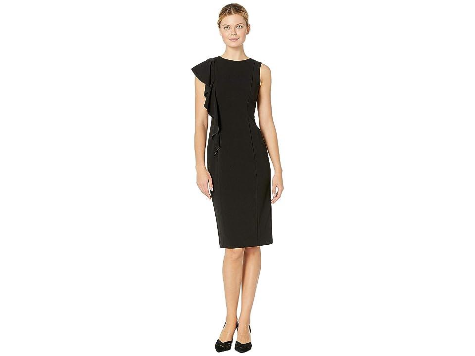 London Times Scuba Crepe Sheath Dress w/ Cascade (Black) Women