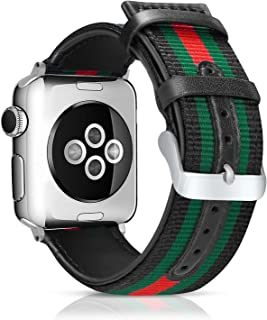 LBYZCAS Sport Wrist Band Compatible for Apple Watch 42MM 44MM,Soft and Breathable Nylon with Genuine Leather Replacement Band Strap Compatible for iWatch Series 5 4 3 2 1 for Women Men