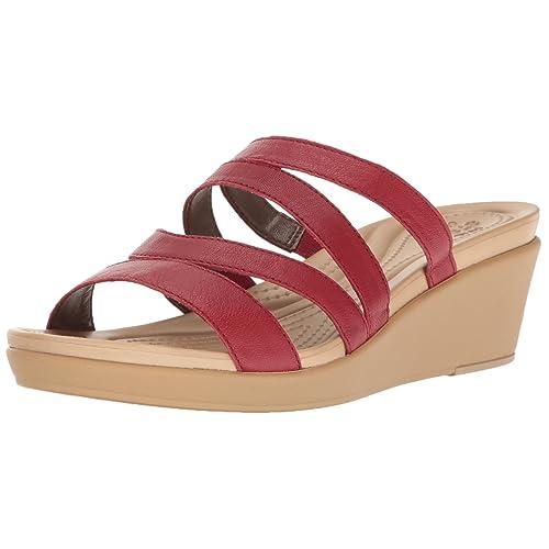 6d37e975672 Crocs Women s Leigh-Ann Leather Mini Wedge Sandal