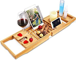 AUMA Extendable Premium Wood Bathtub Tray Caddy - Natural, Ecofriendly - Integrated Tablet, Smartphone, Wine, Book Holders...