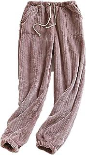 LaiYuTing Par pyjamas kvinnors flanell höst och vinter tjockare varm korall fleece herrbyxor lösa hembyxor