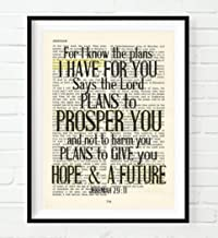 For I Know the Plans I Have for You, Jeremiah 29:11 Christian Unframed reproduction Art Print, Vintage Bible Verse Scripture Wall and Home Decor Poster, Inspirational Gift, 8x10 Inches