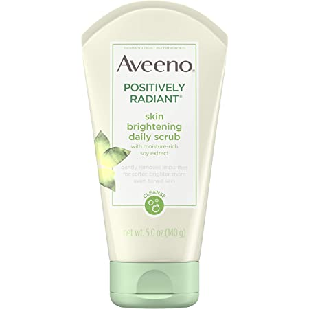 Aveeno Positively Radiant Skin Brightening Exfoliating Daily Facial Scrub, Moisture-Rich Soy Extract, Oil- & Soap-Free Tone-Evening Face Cleanser, Hypoallergenic & Non-Comedogenic, 5 oz