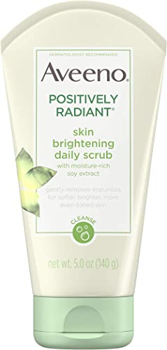 Aveeno Positively Radiant Skin Brightening Exfoliating Daily Facial Scrub, Moisture-Rich Soy Extract, Soap-Free, Hypo...