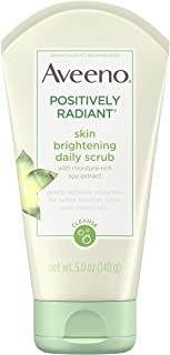 Aveeno Positively Radiant Skin Brightening Exfoliating Daily Facial Scrub, Moisture-Rich Soy Extract, Soap-Free, Hypoaller...