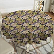 ScottDecor Dining Round Tablecloth Persian Zentangle Pattern with Oriental Fish Paisley Motifs Middle Culture Motifs Multicolor Outdoor Picnics Diameter 36