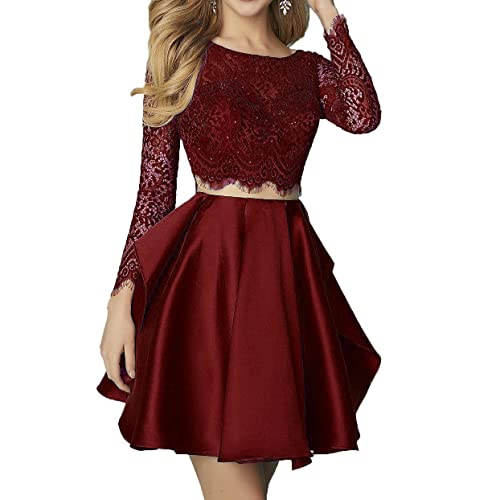 4f1d5396ac6b Still Waiting 2 Pieces Lace Homecoming Dresses Short with Long Sleeves  Beaded Prom Party Gowns C038