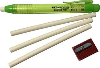 Faber-Castell Pen Mechanical Stick Retractable Click Eraser Set with 2 Extra Refills + 1 FREE Faber-Castell Sharpener(assorted colors) For School Kids Office Home (Green)