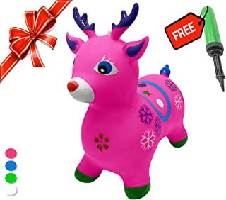 Bouncy Horse - ECO-Friendly - Animal Bouncing Horse Hopper Toy, Inflatable Ride on Jumping Bouncer for Kids (Pink-Deer)