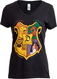 Dogwarts School of Canine Wizardry | Funny Dog Mom Joke V-Neck T-Shirt for Women