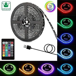 Dazone LEDテープ 防水 SMD5050 5M 80連 高輝度 切断可能 間接照明 装飾用 正面発光ledテープライト 24キーリモコン付 USB接続 5V電圧 明るいライト