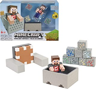 Minecraft Minecart Mayhem Playset With Steve Character Figure, Launching Cart And Accessories, Creation, Exploration And S...