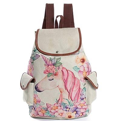 FORSHUYU Daypack Backpack Girls Canvas School Backpack