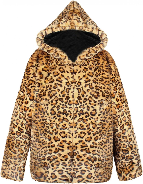 Burband Mens Fashion Hooded Leopard Cardigan Jackets Fuzzy Fleece Luxury Faux Fur Coat Lightweight Fluffy Sherpa Teddy Coat