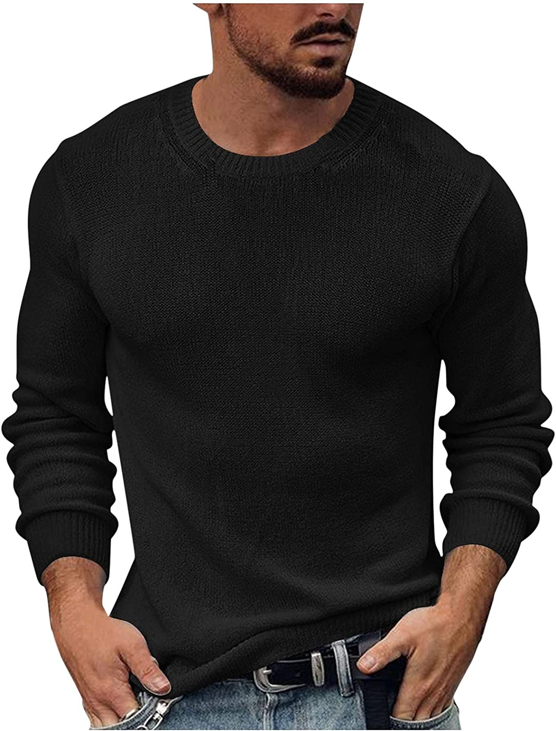 Blouse for Men,Men's Solid Casual Slim Knit Round Neck Long Sleeve Pullover Sweater Tops