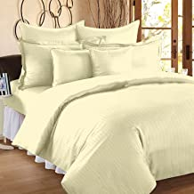 "Trance Home Linen 210 TC Cotton Duvet Cover with 2 Pillow Covers - King Size (Light Ivory Cream) - 102"" x 110"""