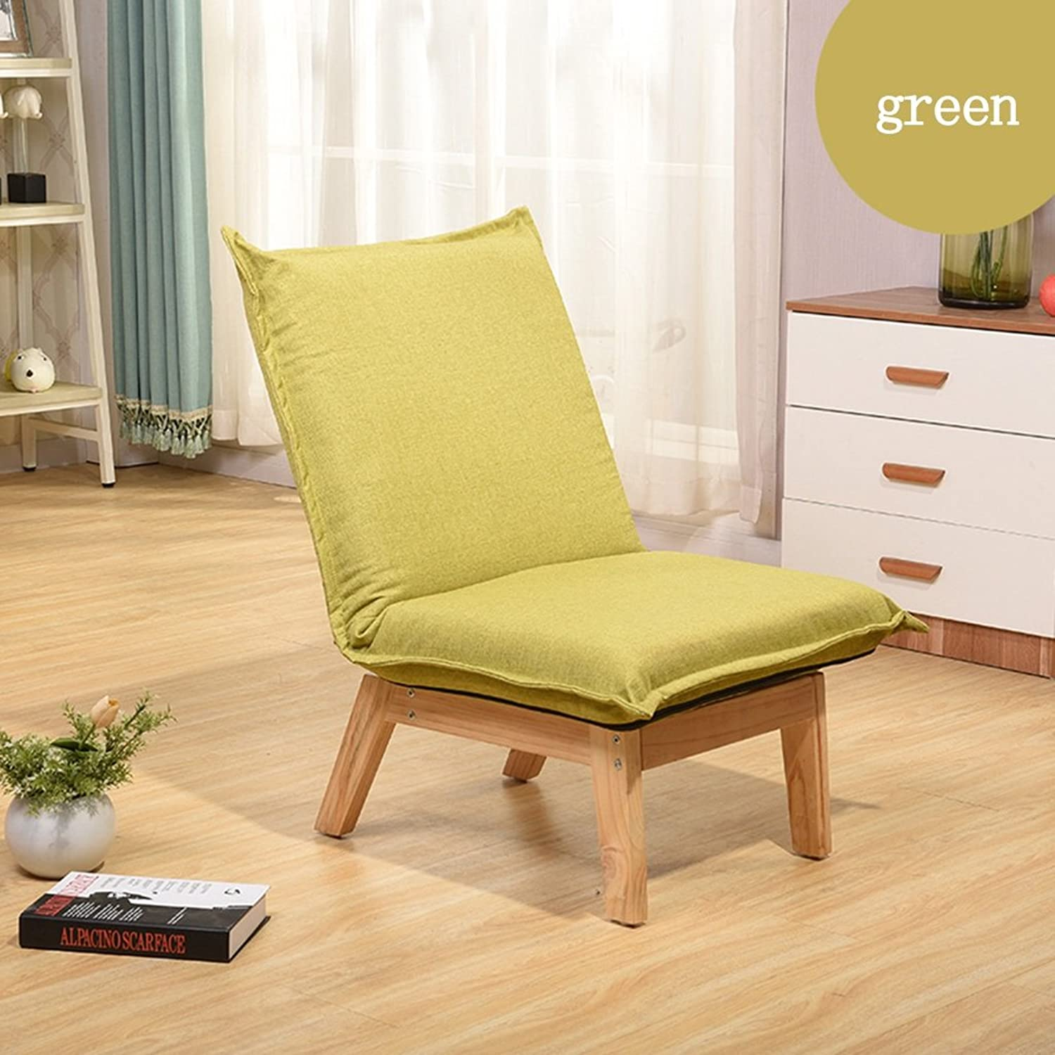 Lazy Sofa Casual Sofa Single Folding backrest Chair Chairs (color   Green)
