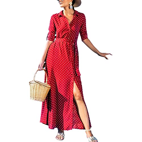 6f5e4e5738fa Elapsy Womens Polka Dot Long Sleeve Button Down Maxi Shirt Dress with  Pockets