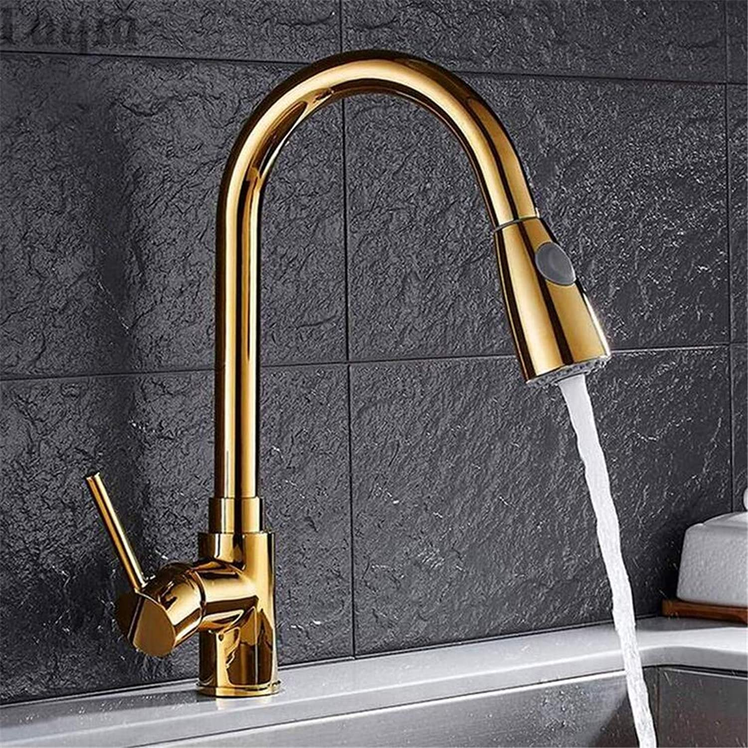 Faucet Vintage Plated Luxury Plating Faucet Faucet Washbasin Mixer Cold and Hot Water Tap Kitchen Sink Faucet Taps Mixer with Pull Down Shower Head