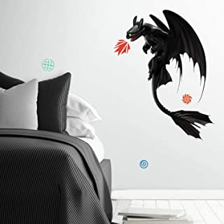 RoomMates RMK3972GM How To Train Your Dragon: The Hidden World Toothless Peel And Stick Giant Wall Decals,black, red, blue