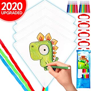Innorock DIY Kites for Kids Easy to Fly - Kid Kite Summer Beach Toddlers Toys Age 4 5 6 7 8 9 Years Old - Color Your Own Arts and Crafts Outdoor Activities Kit Supplies