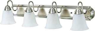 Kingbrite 4 Bulb E26 Vanity Light Fixture for Bathroom, Brushed Nickel, Alabaster Glass