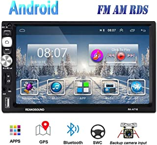 Hikity Double Din Android Car Stereo 7 Inch Touch Screen Radio FM AM Bluetooth Receiver Supports GPS Navigation WiFi Connect Mirror Link for Android/iOS Phone + Backup Camera & Frame