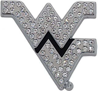 West Virginia Mountaineers Premium Chrome Metal Auto Emblem with Crystals