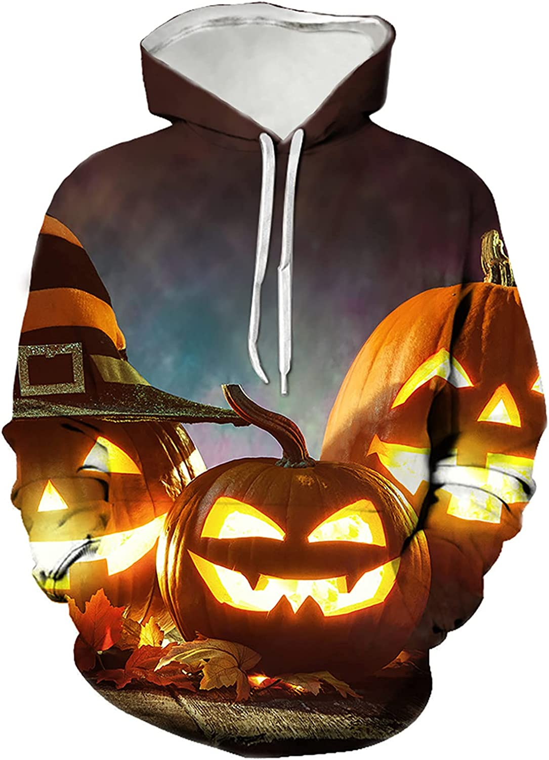Women Long Sleeve Hoodie Halloween Colorful Print Sweatshirts Casual Plus Size O-Neck Blouse Sweater with Pockets