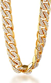 Halukakah ? Bling ? Hombres 18k Real Gold/Platino Plateado Set de Diamantes Artificiales de Gran Cadena Miami Cubana Collar 45/60/75/90cm Pulsera 18/20/22cm con CajaDeRegaloGRATIS