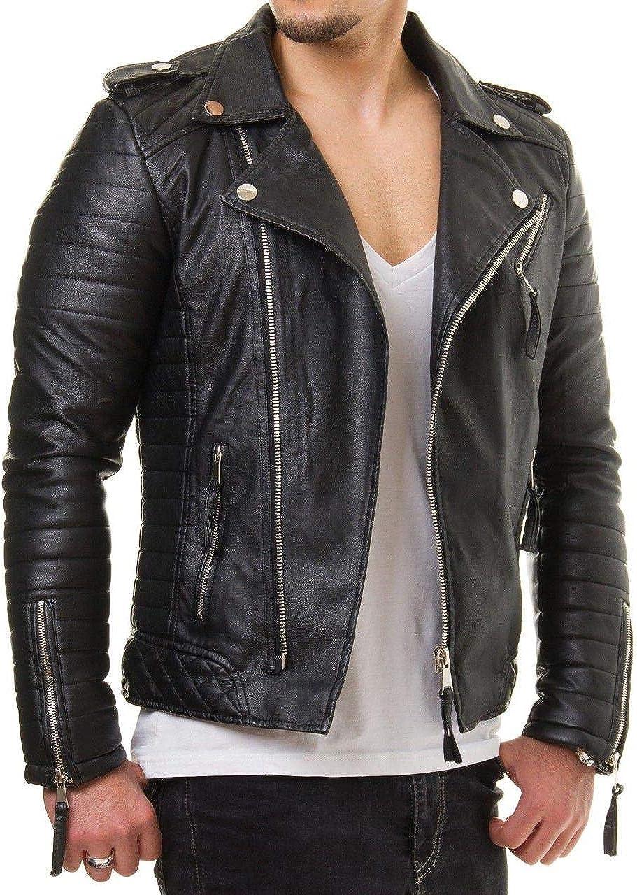 Mens Black Real Leather Jacket Brando Vintage Slim FIT Genuine Leather