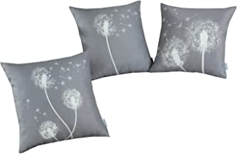 CaliTime Set of 3 Soft Canvas Throw Pillow Covers Cases for Couch Sofa Home Decoration 18 X 18 Inches Solid Dandelion Print Medium Grey