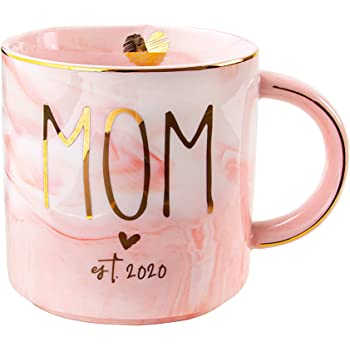 VILIGHT New Mom 2020 Gifts for Women - Pregnancy Congratulations Gifts for First Time Moms and Mother To Be - Pink Marble Mug Ceramic Coffee Cup 11oz