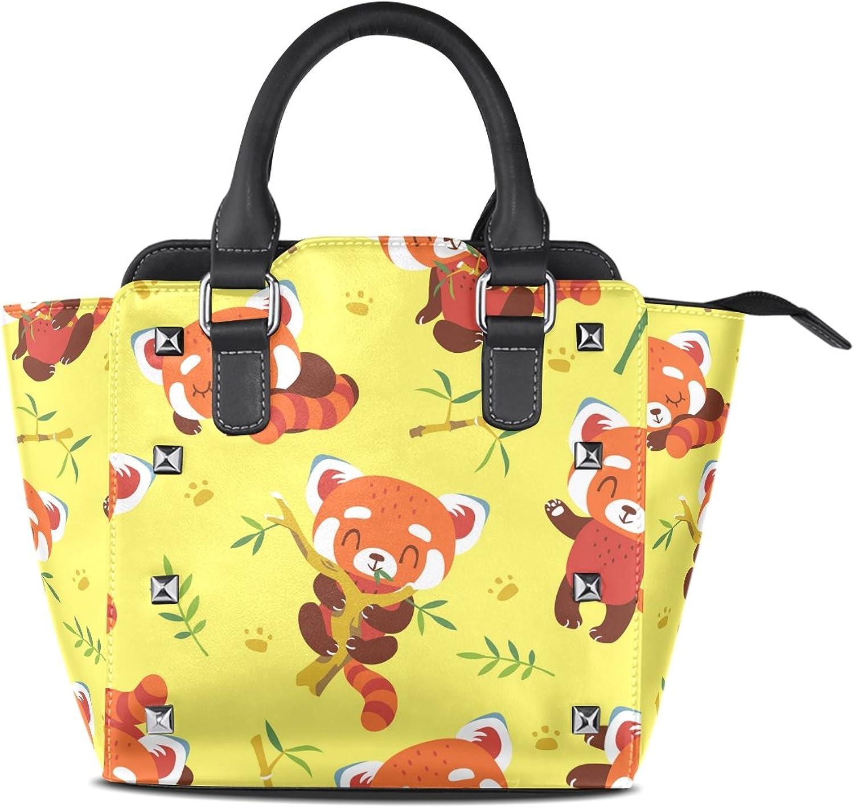 My Little Nest Women's Top Handle Satchel Handbag Cartoon Red Panda Yellow Ladies PU Leather Shoulder Bag Crossbody Bag