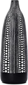Quoowiit Flower Vase, Decorative Vases Floral Vase for Centerpieces, Vase for Home Decor, Living Room, Office Table or Wedding, Modern Resin Vases with Black and White Dots-Black Tall