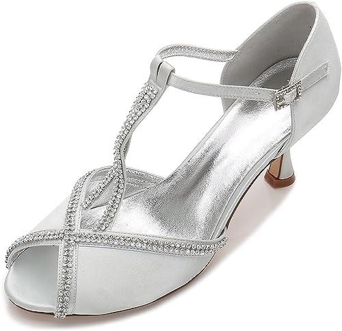 Qingchunhuangtang@ Chaussures de mariage strass bouche peu profonde bouche poisson satin talons partie de chaussures travail quotidien