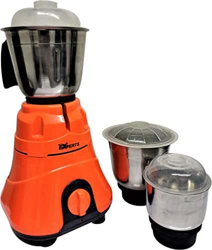 MAYUMI GLS EXPERTS VENUS Power Pro Mixer Grinder 750 Watts with 3 SS Jar for Home Kitchen Orange Grey