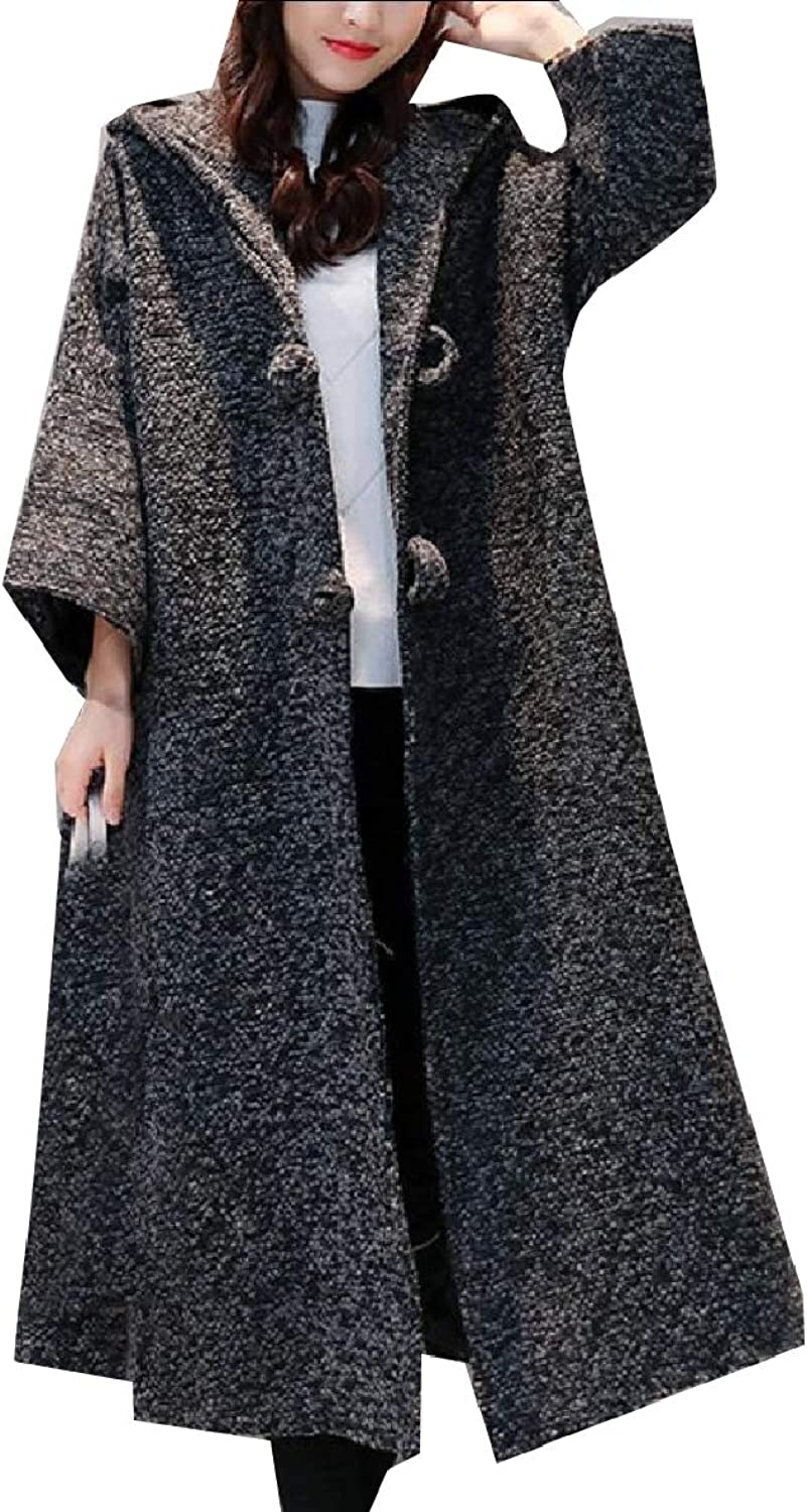 Coolhere Womens Trench Warm Eco Fleece Plus Size Hoode Swing Worsted Coat