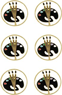 Colorful Paint Palette and Brushes Art Award Pins, 6 Count