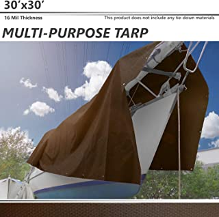 BOUYA 30' x 30' Tarp 16-mil Super Heavy Duty Thick Material, Multi-Purpose Waterproof Reinforced Rip-Stop with Grommets, UV Resistant, Tarpaulin Canopy Tent, Boat, RV or Pool Cover, Brown
