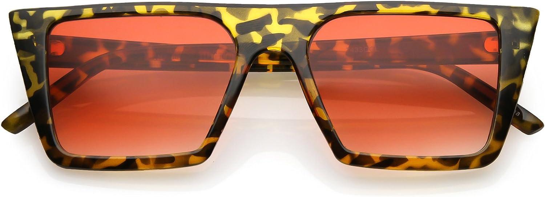 SunglassLA  Retro Flat Top Square Sunglasses color Gradient Flat Lens 52mm