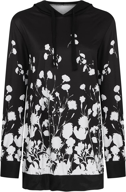 Afelkas Shirts for Women Floral Print Long Sleeve Hoodies Slim Fit Casual Gradient Sweatshirt Comfy Fall Pullover