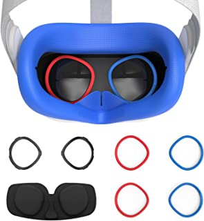 AMVR VR Silicone Face Cover & Lens Anti-Scratch Ring Protecting Myopia Glasses from Scratching VR Lens for Oculus Quest 2,...