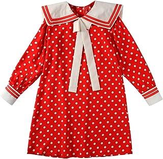 Girls Sailor Polka Dot Cotton Dress Bowknot Red Long Sleeves A-line Uniform Casual SQ8239