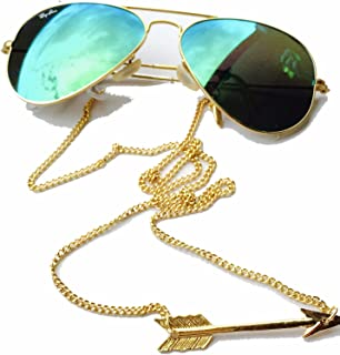 Sintillia Arrow Backlace Sunglass Strap, Glasses Chain, Eyeglass Cord Gold Chain with Clear Attachments