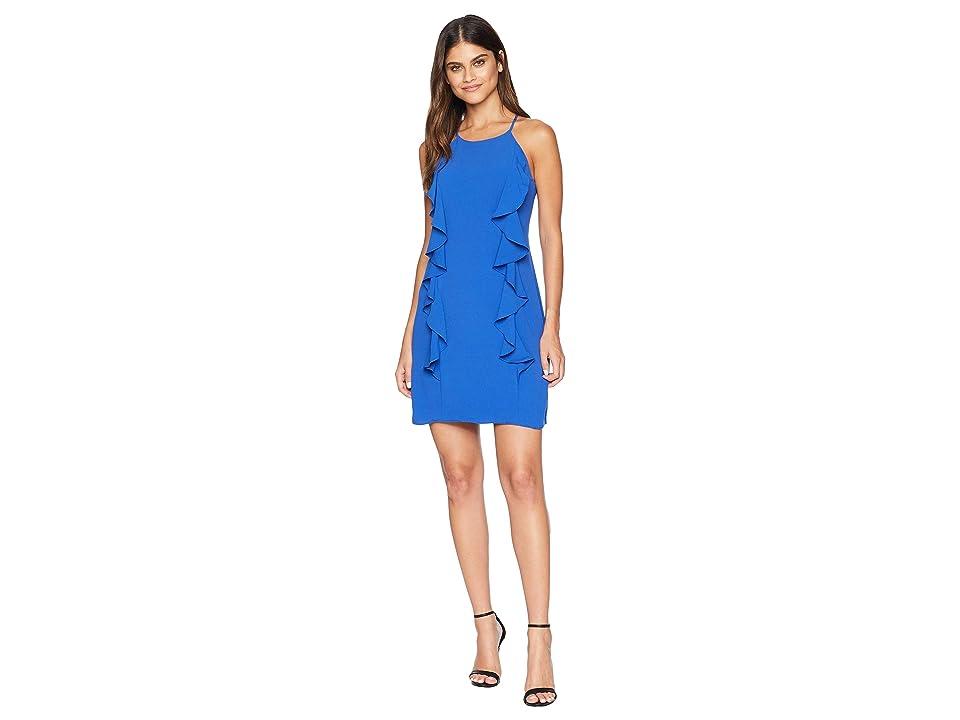 Adelyn Rae Frankie Woven Ruffle A-Line Dress (Cobalt) Women