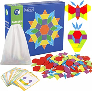 Joqutoys 130 Pcs Wooden Pattern Blocks Geometry Shape Puzzle Set for Kids, Montessori Tangram Toys for Preschool with 24 PCS Guide Cards