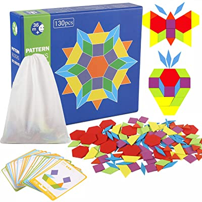 Joqutoys 130 Pieces Wooden Pattern Blocks with ...